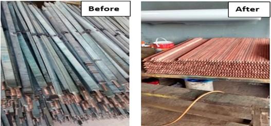 before after pembersih radiator tembaga dan aluminium